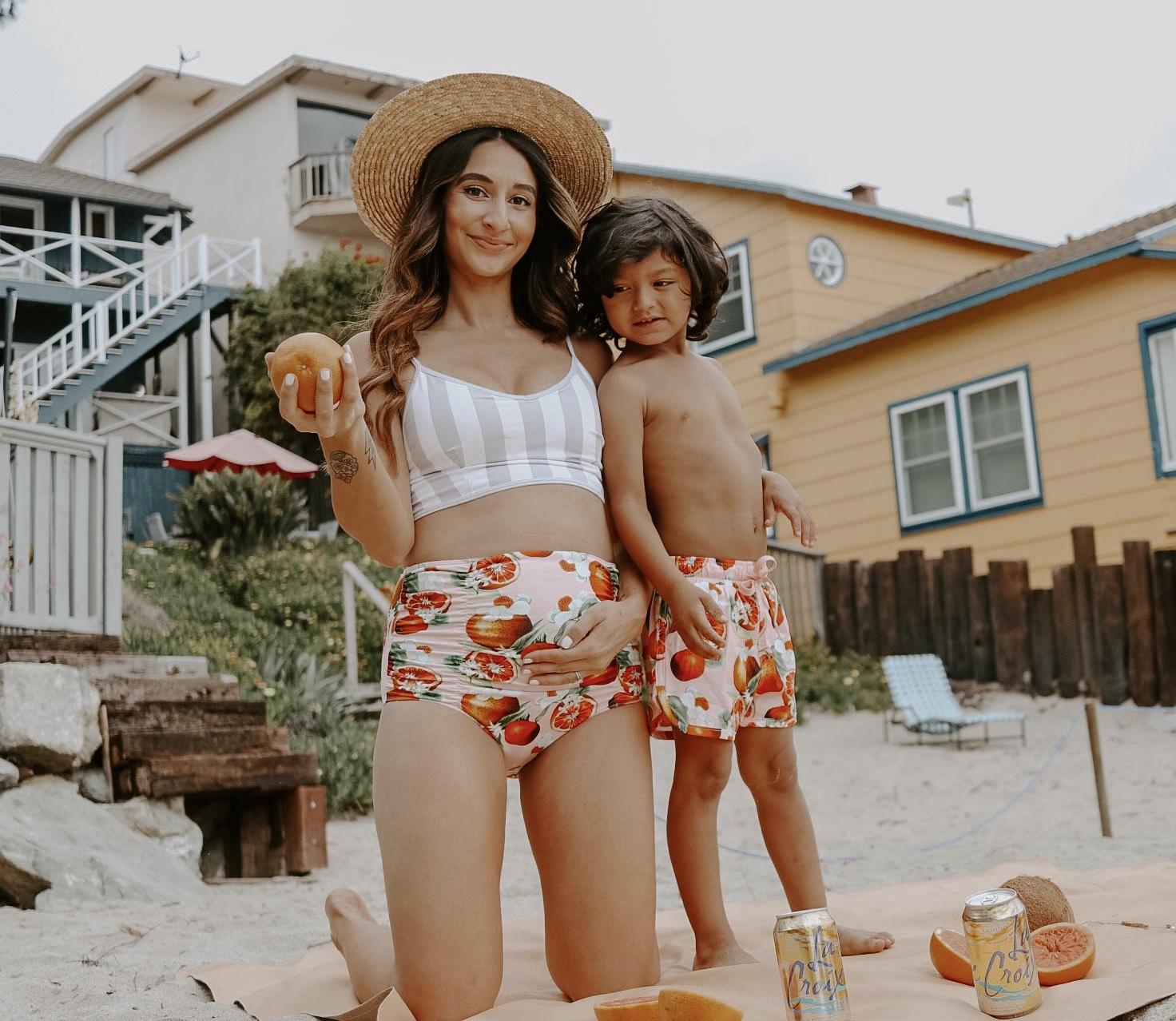 Kortni Jeane swimsuit, Kortni Jeane Maternity, maternity swimwear, grapefruit swimsuit, 24 weeks pregnant, mommy and me swimwear, kortni jeane boys